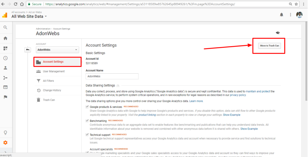 click on google analytics account setting