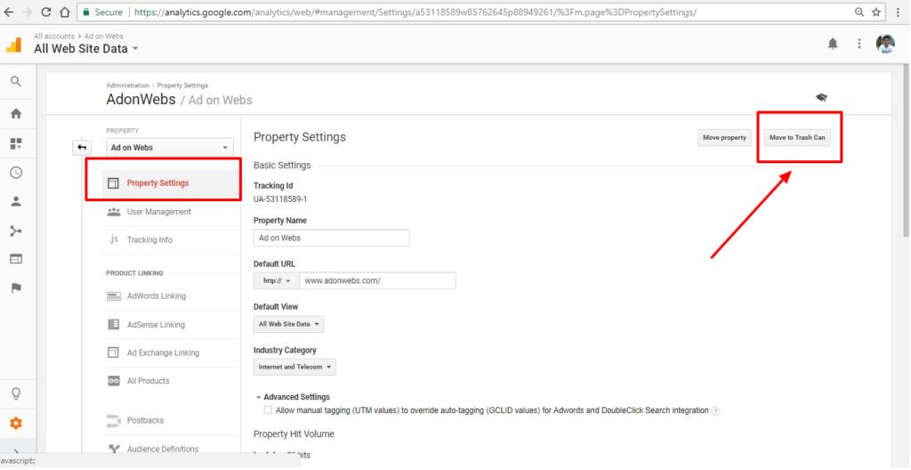 click on trash to delete google analytics property