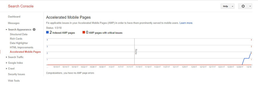 amp tracking on search console